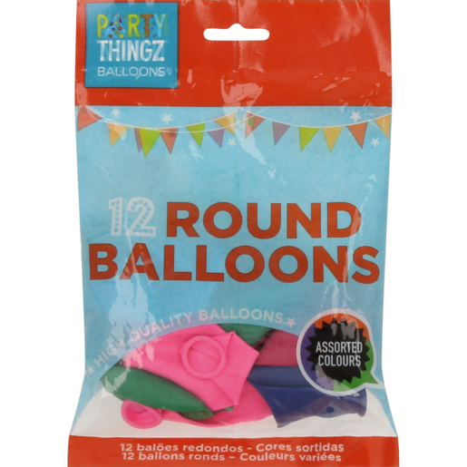 Round Coloured Balloons 12 Pack