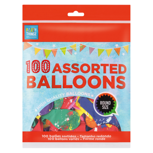 Round Assorted Balloons 100 Pack