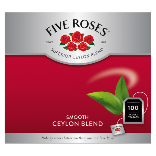 Five Roses Ceylon Blend Tagged Teabags 100 Pack