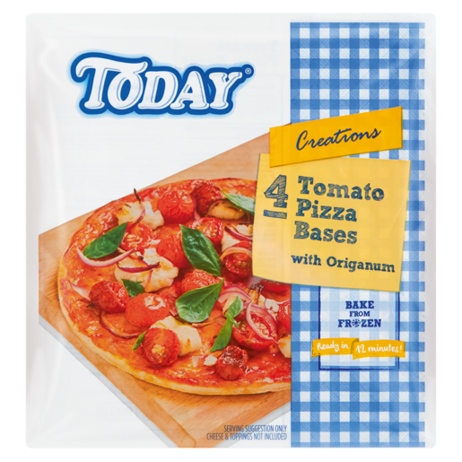 Today Frozen Tomato Pizza Bases 4 Pack