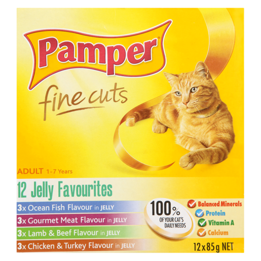 Pamper Fine Cuts Assorted Jelly Favourites Cat Food 12 x 85g