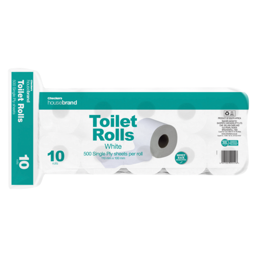 Checkers Housebrand Single Ply Toilet Rolls 10 Pack