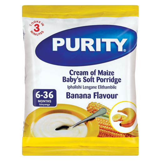 Purity Banana Flavour Cream Of Maize Baby's Soft Porridge 400g