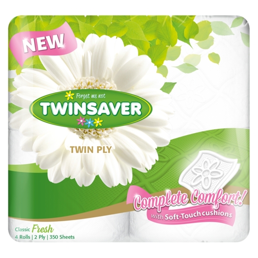Twinsaver Twin Ply Toilet Rolls White 4 Pack