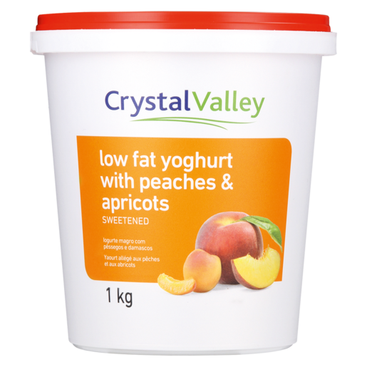 Crystal Valley Low Fat Yoghurt With Peaches & Apricot 1kg