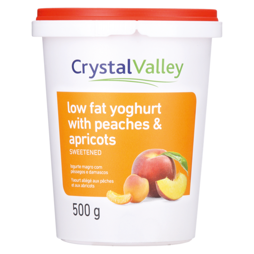Crystal Valley Low Fat Yoghurt With Peaches & Apricot 500g