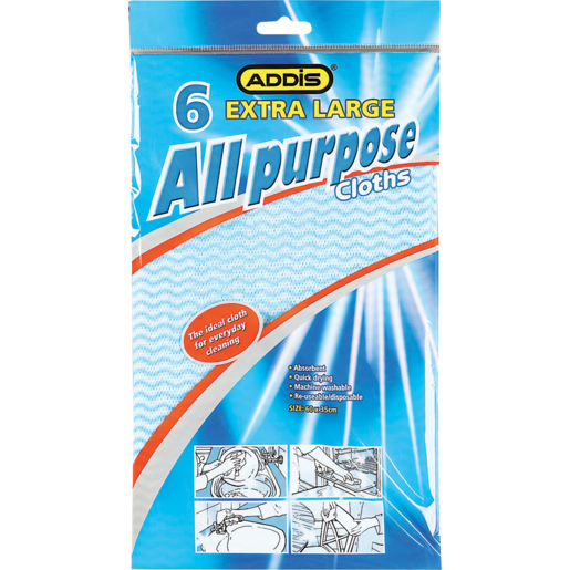 Addis Extra Large All Purpose Cleaning Cloths 6 Pack