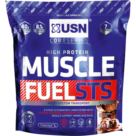 USN Muscle Fuel Chocolate Flavoured Protein Powder 454g
