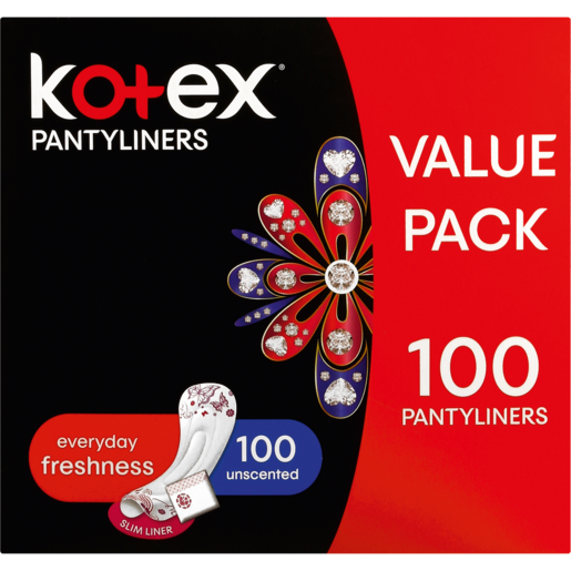 Kotex Unscented Everyday Pantyliners 100 Pack