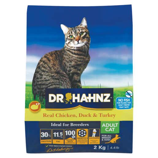 Dr Hahnz Real Chicken, Duck & Turkey Flavoured Adult Cat Food 2kg