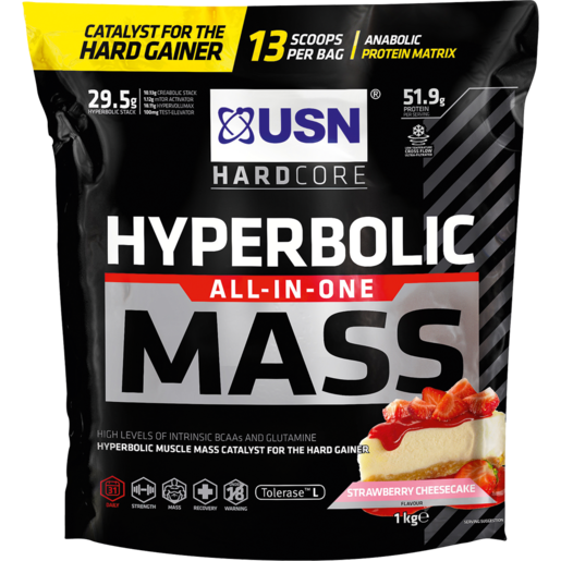 USN Hardcore Hyperbolic All-In-One Mass Strawberry Cheesecake Flavoured Anabolic Protein Matrix 1kg