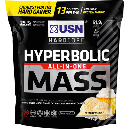 USN Hardcore Hyperbolic All-In-One Mass French Vanilla Flavoured Anabolic Protein Matrix 1kg