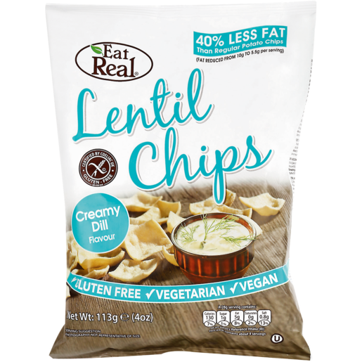 Eat Real Creamy Dill Flavoured Lentil Chips 113g