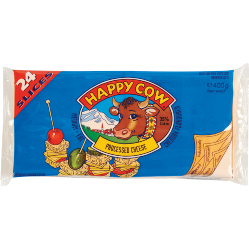 Happy Cow Cheddar Cheese Slices Pack 400g