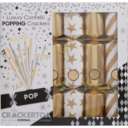 Crackertoa Luxury Confetti Popping Christmas Crackers 6 Pack