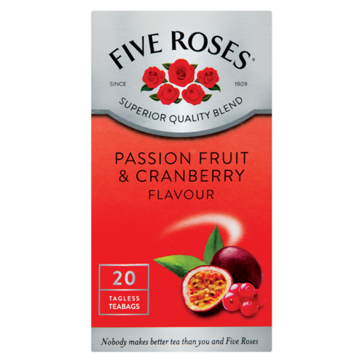 Five Roses Passion Fruit & Cranberry Flavoured Teabags 20 Pack