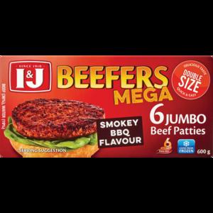 I J Beefers Mega Smokey Bbq Flavoured Jumbo Beef Patties 600g Frozen Burgers Frozen Meat Poultry Frozen Food Food Checkers Za