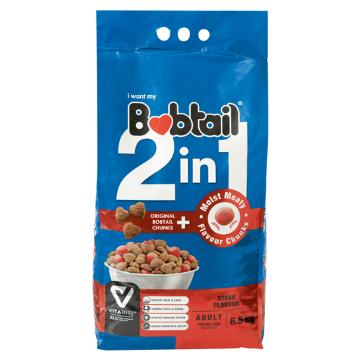 Bobtail 2-In-1 Adult Steak Flavoured Dog Food With Moist Meat 6.5kg