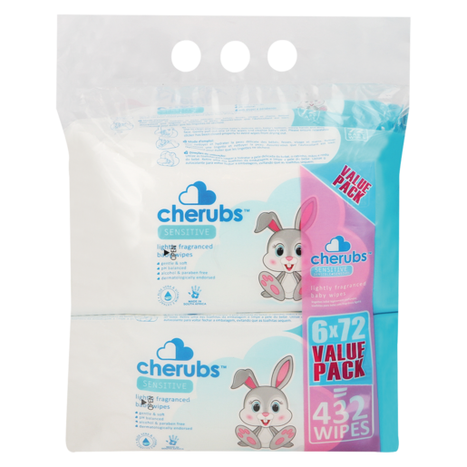 Cherubs Lightly Fragranced Sensitive Baby Wipes 6 x 72 Pack