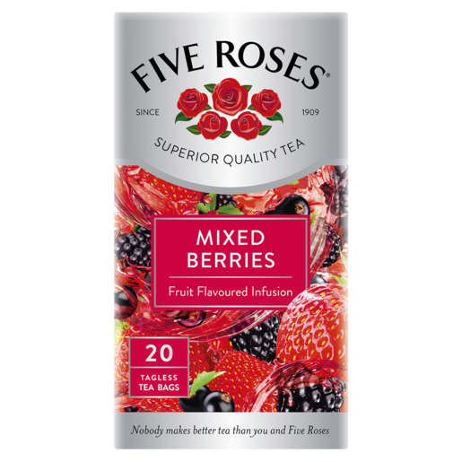 Five Roses Mixed Berries Fruit Flavoured Infusion Teabags 20 Pack