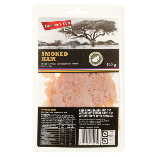 Farmer's Deli Shaved Smoked Ham Pack 100g