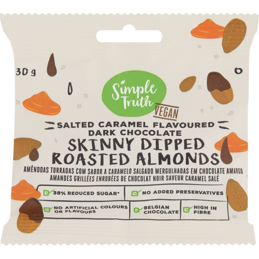 Simple Truth Salted Caramel Flavoured Dark Chocolate Skinny Dipped Roasted Almonds 30g