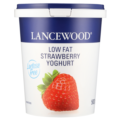 Lancewood Lactose Free Strawberry Flavoured Low Fat Yoghurt 500g