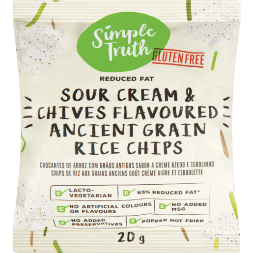 Simple Truth Gluten Free Sour Cream & Chives Flavoured Ancient Grain Rice Chips 20g