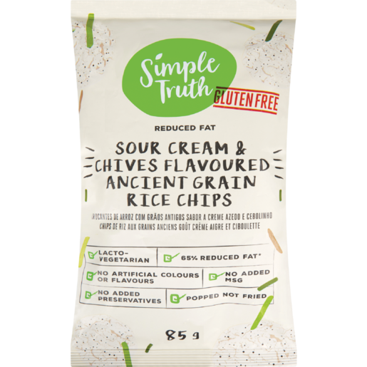 Simple Truth Gluten Free Sour Cream & Chives Flavoured Ancient Grain Rice Chips 85g