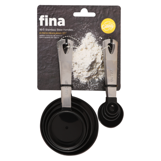 Fina Assorted Stainless Steel Handle Measuring Set 8 Piece