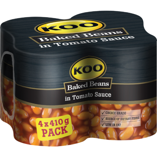 Koo Baked Beans In Tomato Sauce Cans 4 X 410g Canned Pulses Lentils Beans Canned Food Food Cupboard Food Checkers Za
