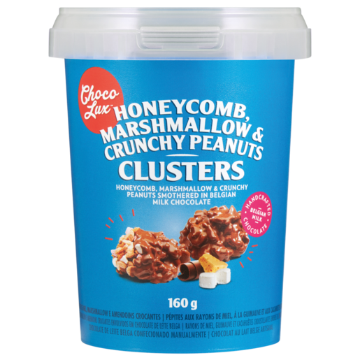 Choco Lux Honeycomb, Marshmallow & Crunchy Peanuts Chocolate Clusters Tub 160g