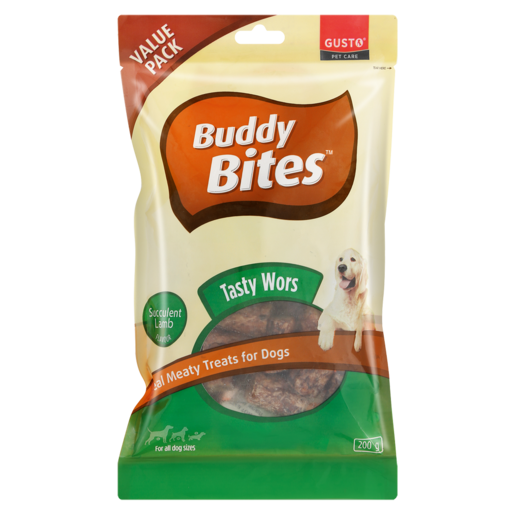 Buddy Bites Succulent Lamb Flavoured Real Meaty Treats For Dogs 200g