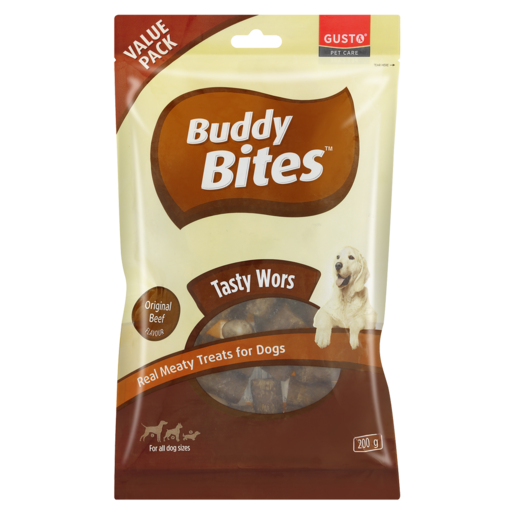 Buddy Bites Original Beef Flavoured Real Meaty Treats For Dogs 200g