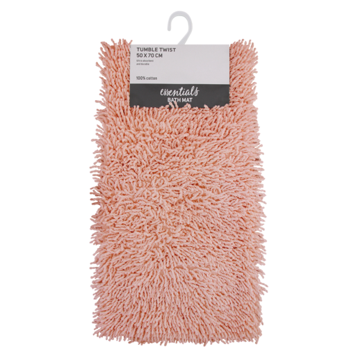 Essentials Pale Blush Tumble Twist Bath Mat 50 x 70cm
