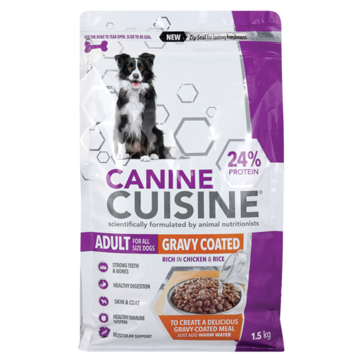 Canine Cuisine Rich In Chicken & Rice Flavoured Gravy Coated Adult Dog Food 1.5kg