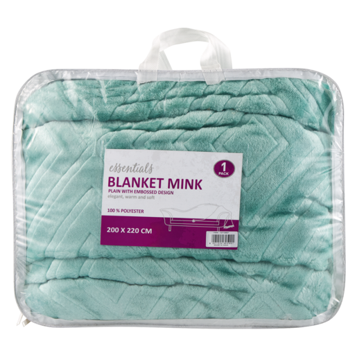Essentials Plain Green Mink Blanket With Embossed Design 200 x 220cm