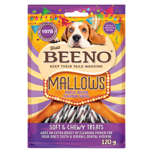 Beeno Mallows Maple Bacon Flavoured Swirl Dog Treats 120g